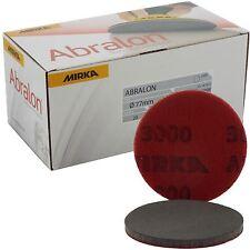 """Mirka Abralon 77mm 3"""" P3000 Grit 20x HookNLoop Foam Fine Finishing Discs Pad"""