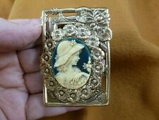 Cm10-4) Girl in Hat Resin blue ivory Cameo flower frame brass Pin brooch Jewelry