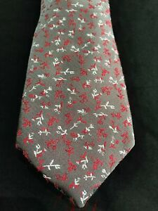 Van Heusen Mens Tie Silver Grey with Red and White Floral