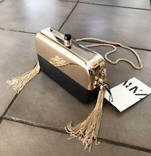 Zara Black & Gold Contrast Minaudiere Bag Clutch # H19