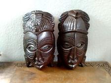 Holzmasken Paar aus Afrika Handgemacht Schnitzerei Kunst Wandmaske Dekoration