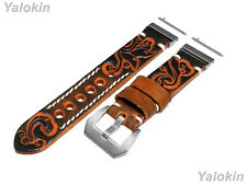 Brown Orange Embossed Leather Band for 20mm-26mm Watches Quick Release Adapters