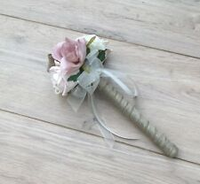 FLOWERGIRLS WAND WEDDING FLOWERS CHAMPAGNE BLUSH IVORY ROSES HESSIAN BURLAP
