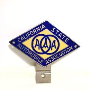 Antique AAA METAL CAR EMBLEM California State AUTOMOBILE Association ENAMEL BLUE