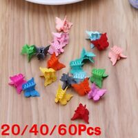 Lot 60Pcs Mini Hair Claws Multi Colors Hair Clips Butterfly Shape Hair Clamps AU