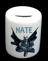 Personalised Name Bat Man Money Box Piggy Bank Boy Birthday Christmas Gift