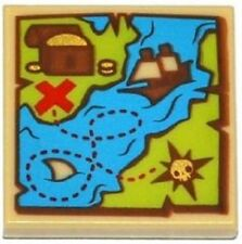 LEGO Tile 2x2 Map Tile Sailing Ship Treasure Chest Red 'X' Pirates