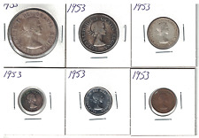 "1953 Canada 1 penny to $1 dollar silver coin year set ""ESTATE LOT"""