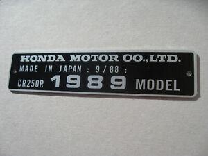 HONDA CR250R 1989 MODEL date 9/88 TAG FRAME VIN ALU PLATE not decal