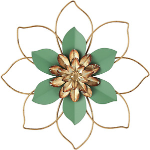 H HOMEBROAD. Metal Flower Wall Decor Hanging Decorations,12 Inch Outdoor Wall Sc