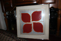 Vintage Abstract Art Lithograph 4 Red Leaves 1967 Signed Framed Numbered