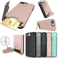 Slim Hybrid Card Pocket Shockproof Stand Wallet Case Cover For iPhone 6s 7 Plus
