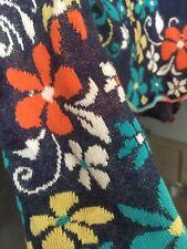 IVKO Jacke Cardigan rot red blau Jacket ❤️ Intarsia Pattern Blumen Gr 36 ❤️