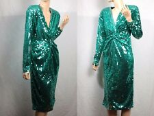Vintage Green sequin bombshell pin up cocktail flapper disco stretch dress XS S
