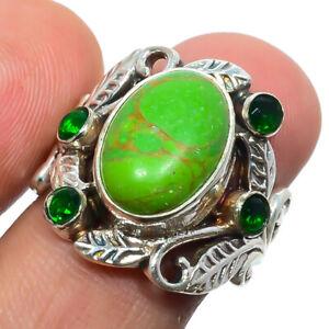 Copper Green Turquoise, Emerald Quartz 925 Sterling Silver Boho Ring s.7 M1567