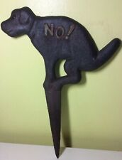 Vintage 13� Cast Iron Ground Stake Dog No Pooping Sign