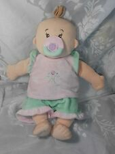 """MANHATTAN TOYS SOFT CLOTH 14"""" STELLA PLUSH BABY DOLL WITH OUTFIT & PACIFIER EUC"""