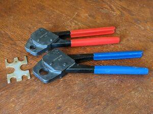 "1/2"" & 3/4"" Pex Crimpers, Plumbing Crimping Tool Set with GoNoGo Gauge"