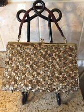 Vintage  Brown & Beige Embroidered Fabric Handbag Floral Design
