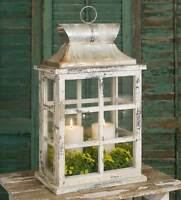 Country new large distressed wood Windowpane candle lantern
