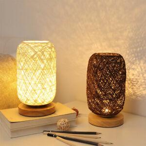 Hand-Woven Twine Table Lamp Wood Rattan Led Night Light Home Decoration Lamp USB
