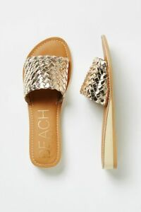 Anthropologie Beach by Matisse Woven Slide Sandals Gold Size 6
