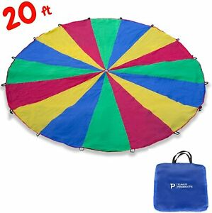 20ft Giant Play Parachute Toy For Kids Group Outdoor Games VBS Rainbow Colorful