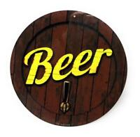 """Beer Keg with Tap 12"""" Round Colorfull Aluminum Sign for Wall, Bar, Gameroom"""