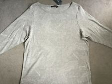 M&S GREY MARL T.SHIRT WITH 3/4 SLEEVES AND WHITE DOTTED PATTERN ALL AROUND -BNWT