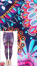Ladies Super Soft Matte Fabric Mandala Flowers Purple Leggings UK 10-12