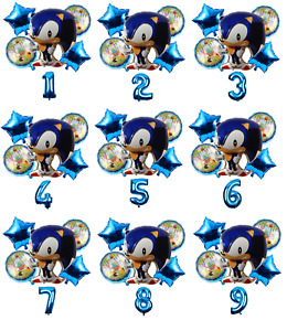 Sonic the Hedgehog Kit Sonic 30'' BLUE Age Number Happy Birthday 6 Balloons