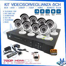 KIT VIDEOSORVEGLIANZA 8 TELECAMERE DVR AHD NVR 8CH 1080P 720P MOUSE E ACCESSORI