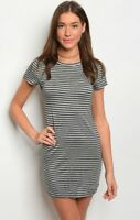 NWT Large Casual T-shirt Dress Summer Boutique Top Blouse Dark Gray