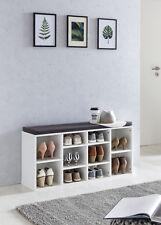 Wilmes: Schuhregal mit Sitzkissen 10 Fächer - Schuhschrank Wohnregal  Weiß Dekor