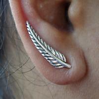Pair of 925 Sterling Silver Stud Earrings Hook Ear Studs Womens Ladies Jewellery