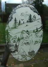 "Frosted glass look WOLF window decoration 8""x12"" / 20x28cm"
