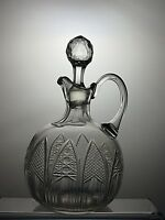 ANTIQUE LEAD CRYSTAL CUT GLASS DECANTER AND STOPPER WITH HANDLE