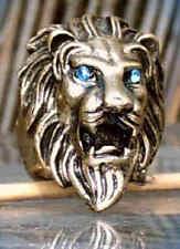 Anello leone testa leone lion bronzo colori con occhi blu 18 mm 17,5 mm 17 mm