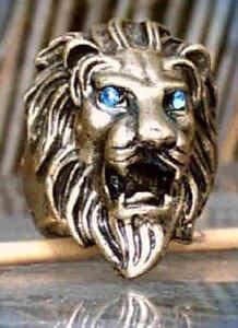 Anello Testa di Leone Color Bronzo Con Blu Occhi 18 MM 17,5 MM 17 MM