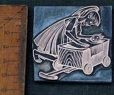MÄDCHEN KINDERWAGEN Galvano Druckplatte Klischee Eichenberg printing plate