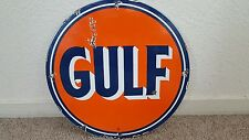 VINTAGE GULF GASOLINE PORCELAIN ENAMEL GAS PUMP SERVICE STATION OIL METAL SIGN