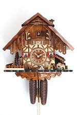 Original Schwarzwälder Kuckucksuhr 8 Tage Schwarzwaldhaus beweglicher Holzhacker