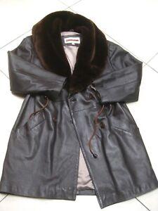 VINTAGE Ladies leather PARKA COAT UK 10 12 duffle fur collar penny lane flying