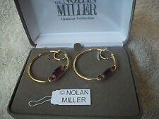 NOLAN MILLER Earrings BIG Hoop GLAMOUR Pierced Purple Austrian CRYSTALS NEW