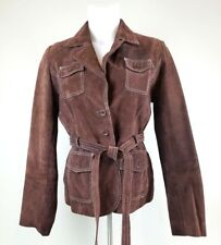 Rue 21 Womens Jacket Sz M Brown Suede Leather Collar Button Front Belted