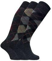 3 paia uomo lunghi lunghe caldo calzini / calze lana in grigio e marrone