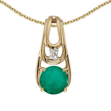 "14k Yellow Gold Round Emerald And Diamond Pendant with 18"" Chain"