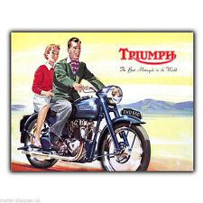Triumph Motorcyles Bikes Retro Vintage Advert METAL SIGN WALL PLAQUE art print