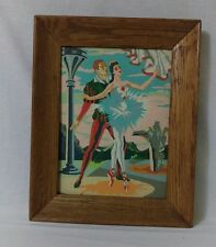 Vintage Paint by Numbers Large 12x16 Harlequin Ballet Framed Painting art