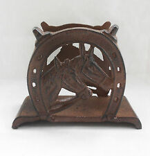 Cast Iron Horses Horseshoes Metal Old Style Postcards Tissue Holder Home Decor